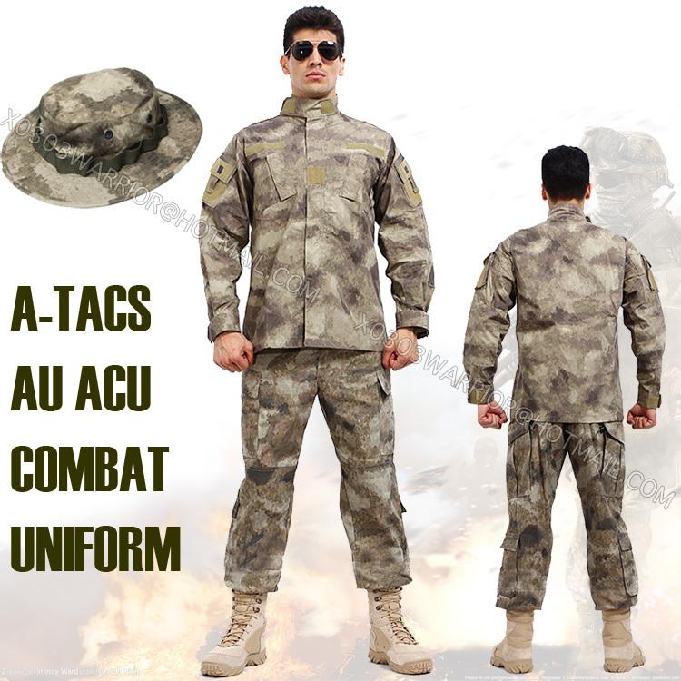 A-TACS FG// AU Military BDU Tactical Uniform Shirt Pants Hunting Airsoft Suit Set